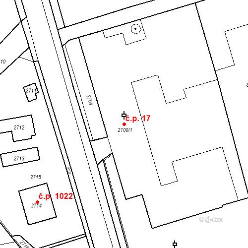 Katastrální mapa Stavební objekt Kostelec nad Černými lesy 17, Kostelec nad Černými lesy