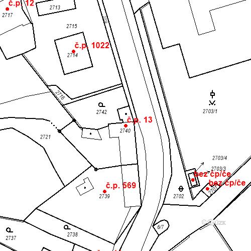 Katastrální mapa Stavební objekt Kostelec nad Černými lesy 13, Kostelec nad Černými lesy