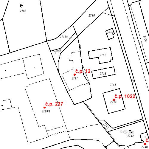 Katastrální mapa Stavební objekt Kostelec nad Černými lesy 12, Kostelec nad Černými lesy