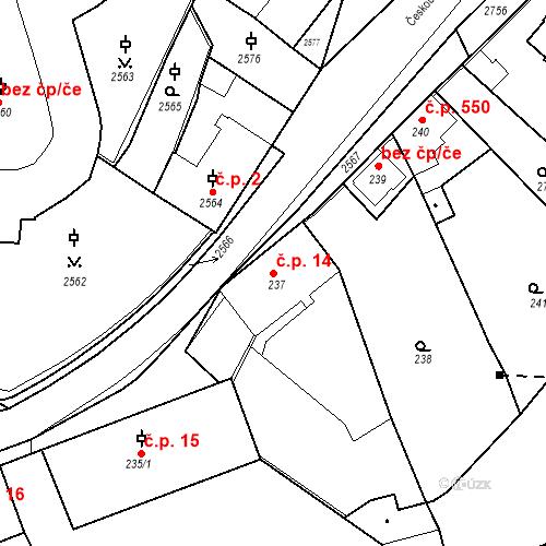 Katastrální mapa Stavební objekt Kostelec nad Černými lesy 14, Kostelec nad Černými lesy