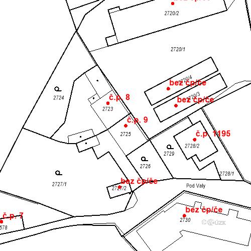 Katastrální mapa Stavební objekt Kostelec nad Černými lesy 9, Kostelec nad Černými lesy