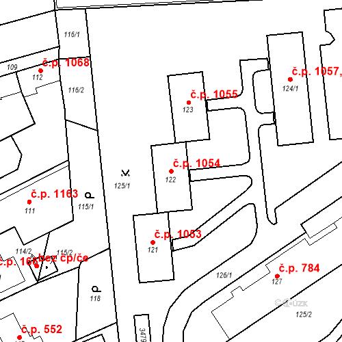 Katastrální mapa Stavební objekt Kostelec nad Černými lesy 1054, Kostelec nad Černými lesy