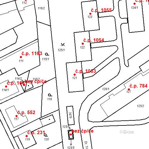 Katastrální mapa Stavební objekt Kostelec nad Černými lesy 1053, Kostelec nad Černými lesy