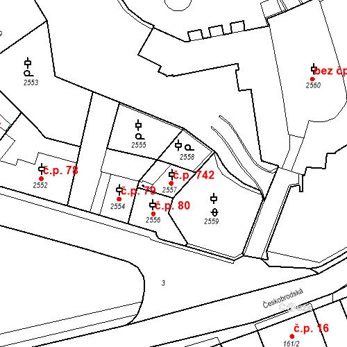 Katastrální mapa Stavební objekt Kostelec nad Černými lesy 742, Kostelec nad Černými lesy
