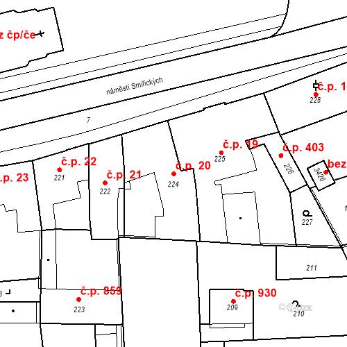 Katastrální mapa Stavební objekt Kostelec nad Černými lesy 20, Kostelec nad Černými lesy