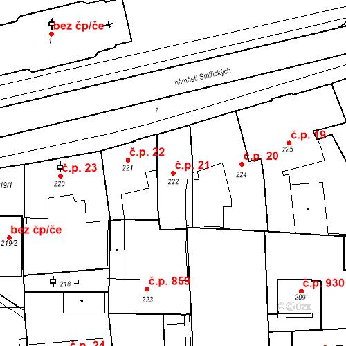 Katastrální mapa Stavební objekt Kostelec nad Černými lesy 21, Kostelec nad Černými lesy