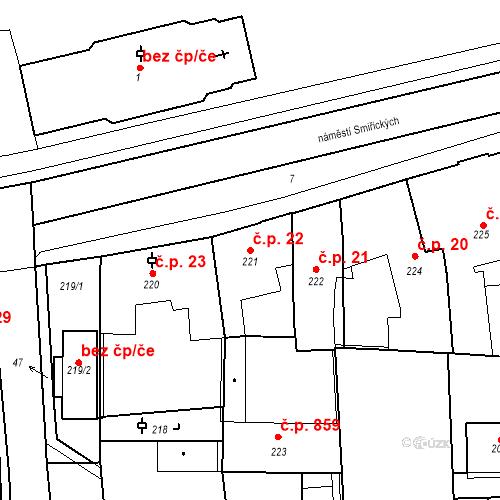 Katastrální mapa Stavební objekt Kostelec nad Černými lesy 22, Kostelec nad Černými lesy
