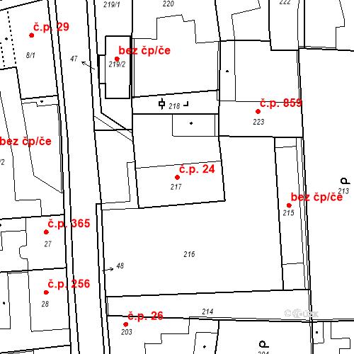Katastrální mapa Stavební objekt Kostelec nad Černými lesy 24, Kostelec nad Černými lesy