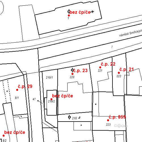 Katastrální mapa Stavební objekt Kostelec nad Černými lesy 23, Kostelec nad Černými lesy