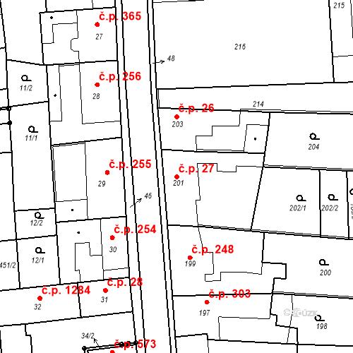 Katastrální mapa Stavební objekt Kostelec nad Černými lesy 27, Kostelec nad Černými lesy