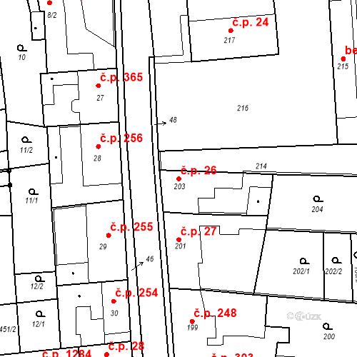 Katastrální mapa Stavební objekt Kostelec nad Černými lesy 26, Kostelec nad Černými lesy
