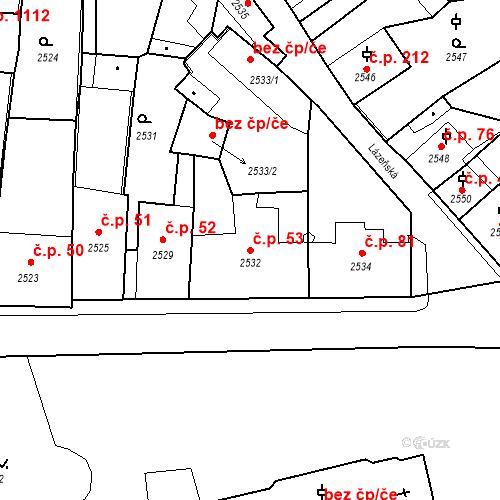 Katastrální mapa Stavební objekt Kostelec nad Černými lesy 53, Kostelec nad Černými lesy