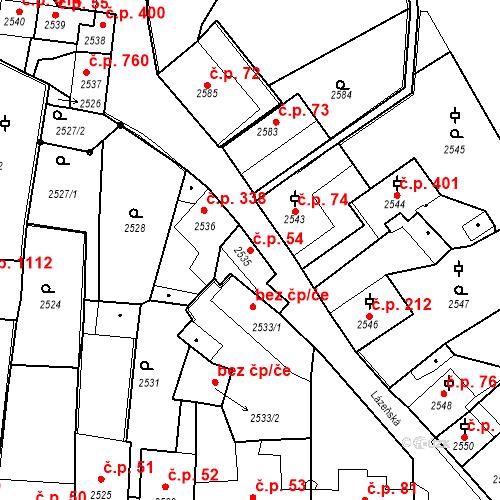 Katastrální mapa Stavební objekt Kostelec nad Černými lesy 54, Kostelec nad Černými lesy