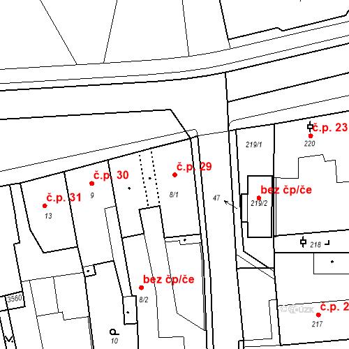 Katastrální mapa Stavební objekt Kostelec nad Černými lesy 29, Kostelec nad Černými lesy