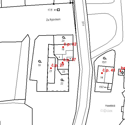 Katastrální mapa Stavební objekt Štolmíř 17, Český Brod