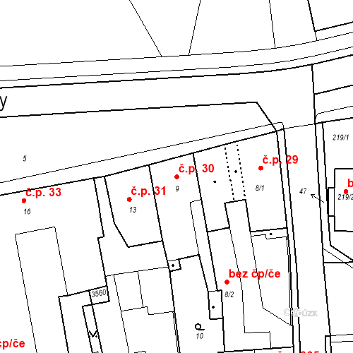 Katastrální mapa Stavební objekt Kostelec nad Černými lesy 30, Kostelec nad Černými lesy
