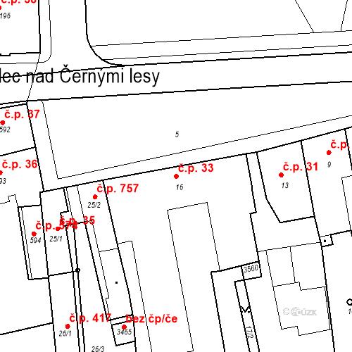 Katastrální mapa Stavební objekt Kostelec nad Černými lesy 33, Kostelec nad Černými lesy