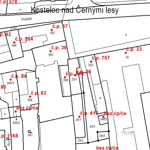 Katastrální mapa Stavební objekt Kostelec nad Černými lesy 35, Kostelec nad Černými lesy