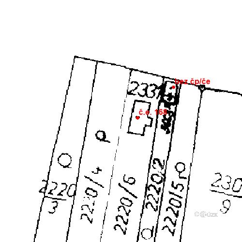 Katastrální mapa Stavební objekt Lysá nad Labem 168, Lysá nad Labem