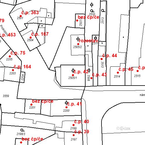 Katastrální mapa Stavební objekt Kostelec nad Černými lesy 42, Kostelec nad Černými lesy