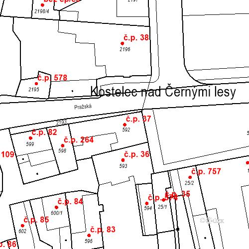 Katastrální mapa Stavební objekt Kostelec nad Černými lesy 37, Kostelec nad Černými lesy