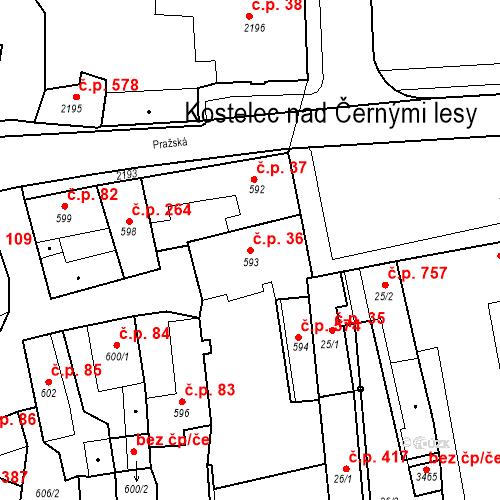 Katastrální mapa Stavební objekt Kostelec nad Černými lesy 36, Kostelec nad Černými lesy