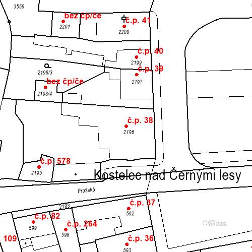 Katastrální mapa Stavební objekt Kostelec nad Černými lesy 38, Kostelec nad Černými lesy