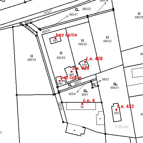 Katastrální mapa Stavební objekt Vlkančice 429, Vlkančice