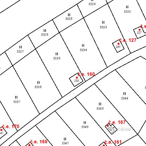 Katastrální mapa Stavební objekt Samechov 160, Chocerady