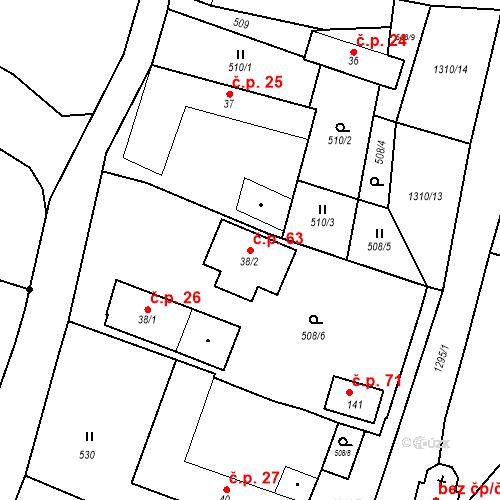 Katastrální mapa Stavební objekt Sedlo 63, Číměř