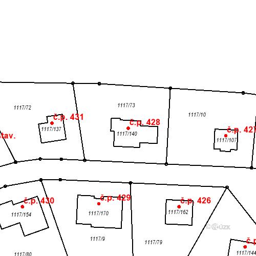 Katastrální mapa Stavební objekt Divišov 428, Divišov