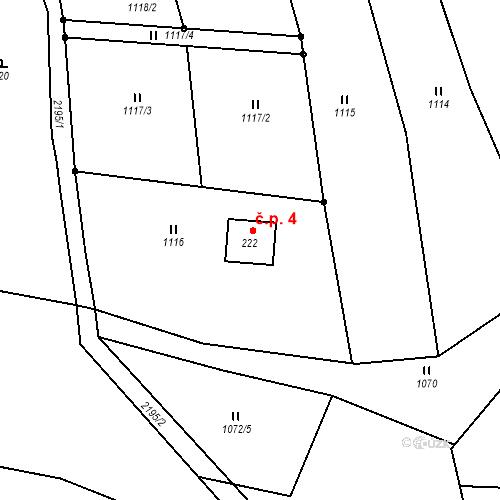 Katastrální mapa Stavební objekt Lipiny u Radošovic 4, Radošovice