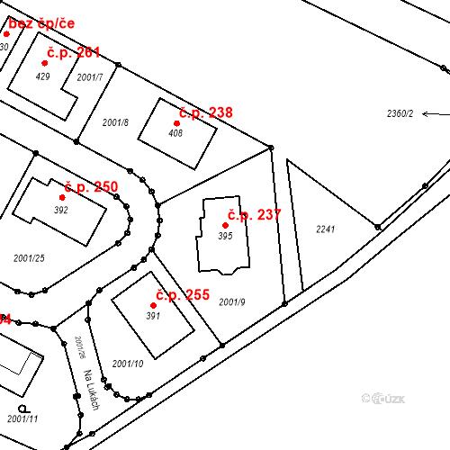 Katastrální mapa Stavební objekt Radouňka 237, Jindřichův Hradec