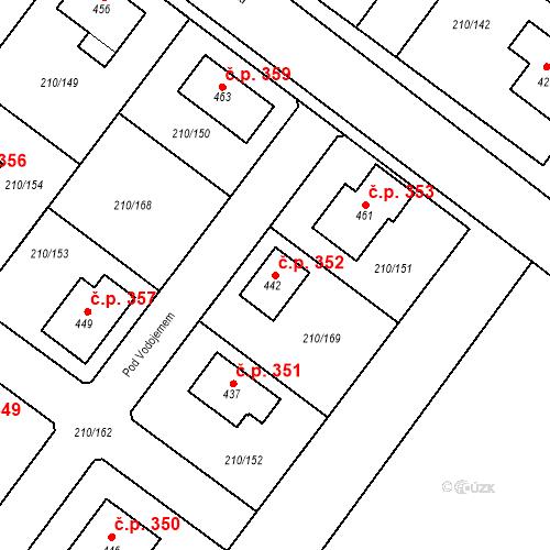 Katastrální mapa Stavební objekt Načeradec 352, Načeradec