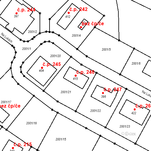 Katastrální mapa Stavební objekt Radouňka 246, Jindřichův Hradec