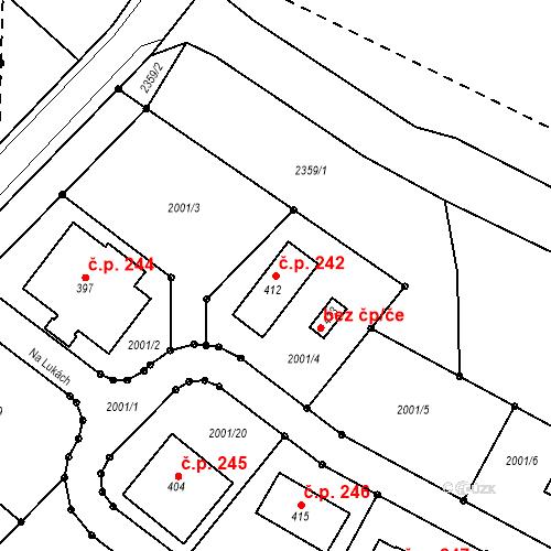 Katastrální mapa Stavební objekt Radouňka 242, Jindřichův Hradec