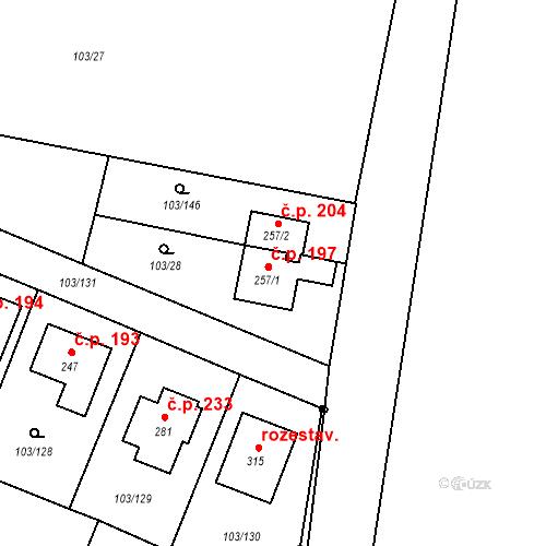 Katastrální mapa Stavební objekt Břežany II 197, Břežany II