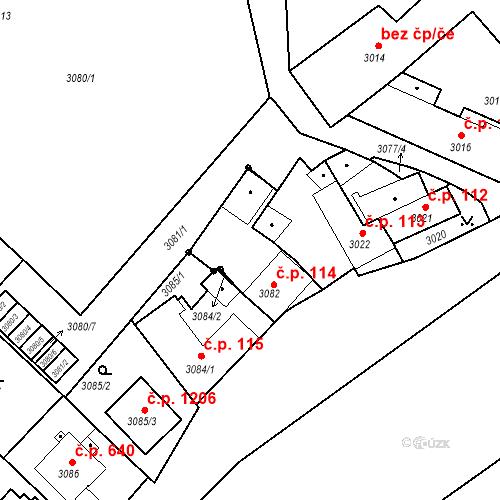 Katastrální mapa Stavební objekt Jindřichův Hradec II 114, Jindřichův Hradec