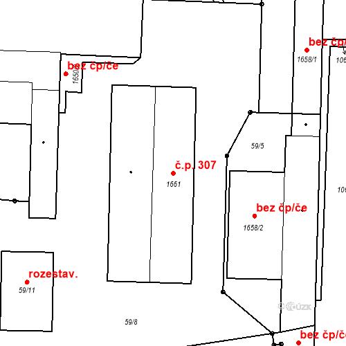 Katastrální mapa Stavební objekt Mochov 307, Mochov