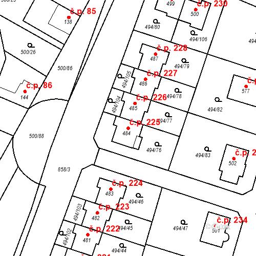 Katastrální mapa Stavební objekt Sedlčánky 225, Čelákovice