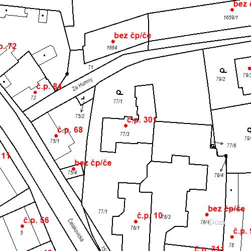 Katastrální mapa Stavební objekt Mochov 301, Mochov