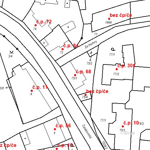 Katastrální mapa Stavební objekt Mochov 68, Mochov