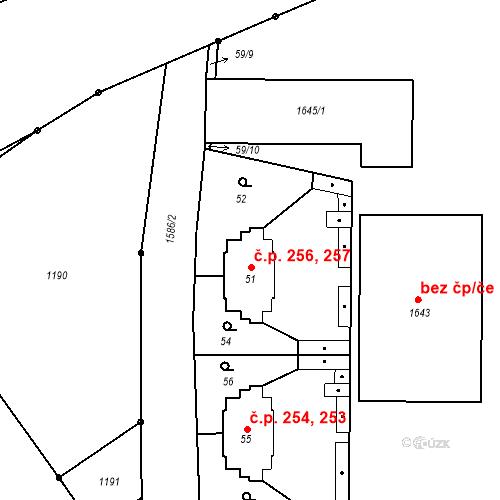 Katastrální mapa Stavební objekt Mochov 256, 257, Mochov