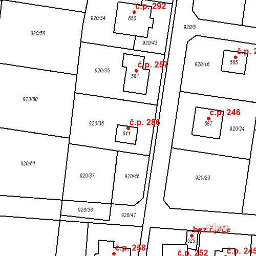 Katastrální mapa Stavební objekt Kozojedy 286, Kozojedy