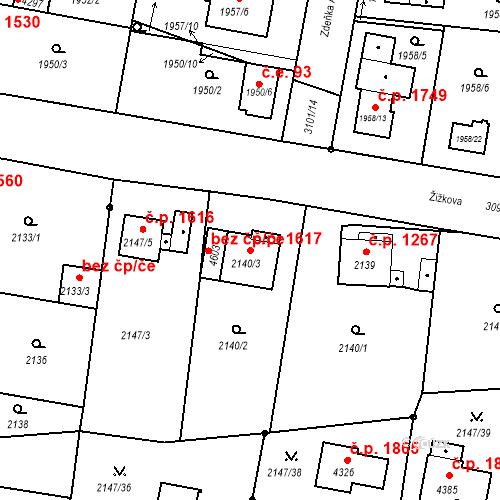 Katastrální mapa Stavební objekt Čelákovice 1617, Čelákovice