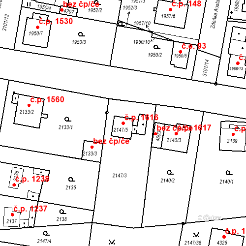 Katastrální mapa Stavební objekt Čelákovice 1616, Čelákovice