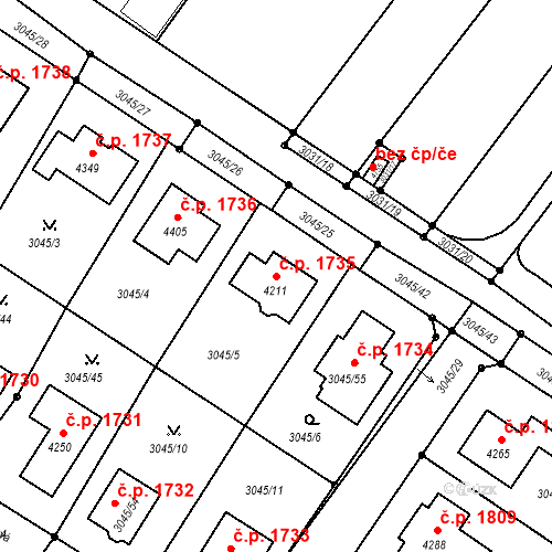 Katastrální mapa Stavební objekt Čelákovice 1735, Čelákovice