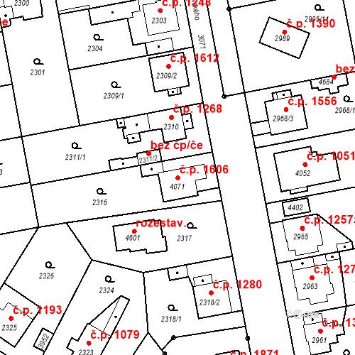 Katastrální mapa Stavební objekt Čelákovice 1606, Čelákovice