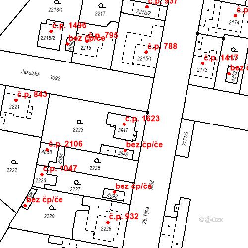 Katastrální mapa Stavební objekt Čelákovice 1623, Čelákovice