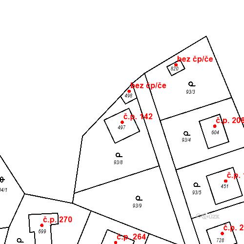 Katastrální mapa Stavební objekt Doubravčice 142, Doubravčice